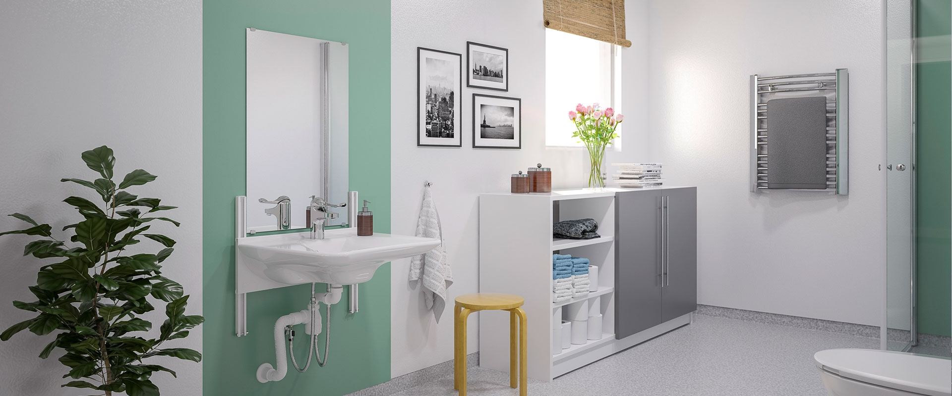 Manuellt höj- och sänkbara tvättställ